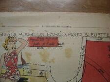 Patron Couture Original BLEUETTE de la SEMAINE DE SUZETTE 1939 Pareo Plage