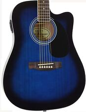 Blue Acoustic Electric Guitar with Case and Picks Thinline Cutaway by Jameson