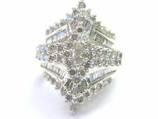 Fine Round Baguette Marquise Diamond Cluster Yellow Gold Jewelry Ring 2.96Ct