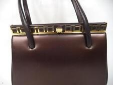 VINTAGE BROWN LEATHER KELLY STYLE FRAME HANDBAG BAG GOLD TRIM