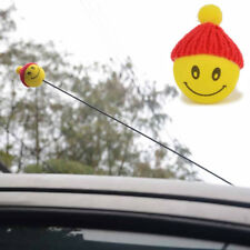 Yellow Happy Smiley ​Face With Wool Hat Car Antenna Pen Topper Aerial Ball Decor