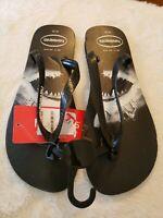Havaiana's Shark photoprint flip flops sandals Men size 13(47/48 EUR) black