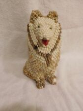"""Shell Dog Hand Made From Little Sea Shells  9"""" Tall - Preowned"""