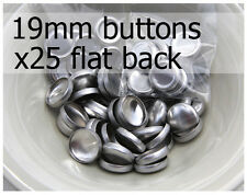 19mm self cover metal BUTTONS FLAT backs (sz 30) 25 QTY + FREE instructions