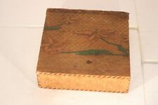 1915 Wood Hand-Colored Pyrography Floral & Stars Decorated Box Wizard Allentown