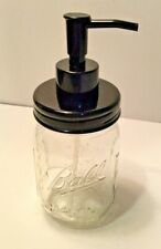 New Mason Jar Soap / Lotion Dispenser Black Plastic No Rust Pump with Glass Jar