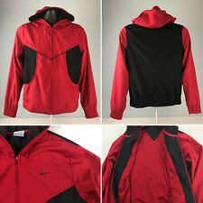 VTG NIKE full zip mesh lined hooded red/black WOMENS M (8-10) TRACK JACKET