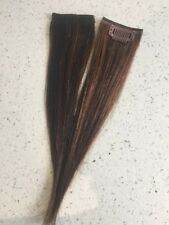 """9"""" Clip in Human Hair Extensions Straight streaks #1/30 1.5"""" Wide"""