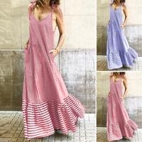 ZANZEA Women Sleeveless  V Neck Striped Beach Dress Holiday Party Maxi Dresses