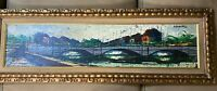 "Superb Aquavel? ""Expansive Cityscape Scene"" Oil Painting - Signed And Framed"