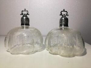 Porta spargi profumo argento 800 d'epoca vetro inciso coppia