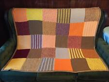 Hand Knitted Stripes Afghan...Colorful Knitting Blanket...