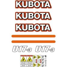 Kubota U17 Decals Stickers U17-3 Decals, Repro Mini Excavator Sticker kit