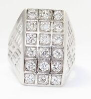 14k White Gold Wide Clear Stone Ladies Ring
