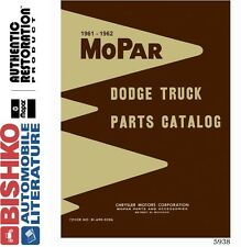 1961 1962 Dodge Truck Parts Numbers Book Interchange Illustrations CD Drawings
