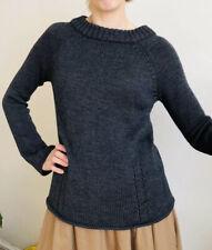 Luxury 100% Merino Wool Jumper By Karen Millen Back Logo Zip 2 Uk 8 10 Grey