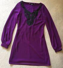 F&F Purple Black Long Sleeve Dress UK 6
