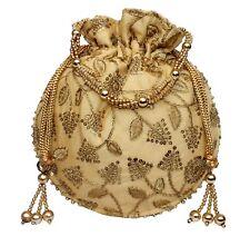 Designer Embroidery Silk Potli Bag Pearl Handle Purse Stylish Women's Handbag GL