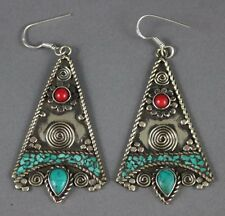 Nepal Tibetan Silver Handcraft Pair Turquoise & Carnelian Earrings USA SELLER
