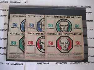 Stadt Weimar 6 Scheine  Notgeld  6 x 50  pfennig 1921 *