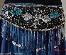 BLACK SATIN, TURQUOISE & SILVER BEADED BELT SEQUINS. MEDIUM ADJUST. BELLY DANCE