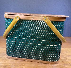 Vintage Hawkeye Burlington Picnic Basket  Woven Metal Handles Wood Top Insert