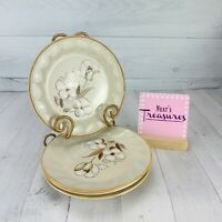 Hearthside Sculptura FELICITY White Brown Floral  Stoneware Salad Plates Set 4