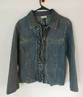 Chicos Platinum Womens Size Sm/Md Button Up Blue Jean Denim Jacket with Ruffle
