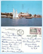 Sailboats Outside Royal Bermuda Yacht Club  Bermuda 1961 Postcard -Building