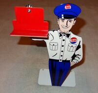 """VINTAGE PEPSI COLA SODA POP SALESMAN 12"""" METAL BUSINESS CARD HOLDER SIGN W/ BASE"""