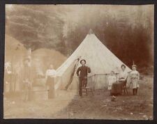 Vintage PHOTO Pioneer Settler Camp STAP Men Women Kids Gun Rifle Tent antique US