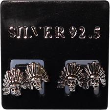 Pair of 925 Sterling Silver Native American Indian Earrings Ear Studs Jewellery