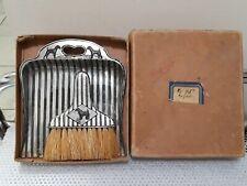 Vintage Japan Silver Metal Striped Dog Dust Pan Table Crumb Sweep Brush Set