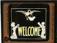 """WELCOME"" MAGIC LANTERN SLIDE -NOVELTY SLIDES NC. NEW YORK"