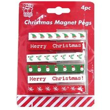 4 x Christmas Fridge Magnet Pegs Clips For Photos Cards Festive Decoration Craft