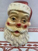 Vintage Awesome 1960 Santa Head Chalkware Bank By Silvestri Bros