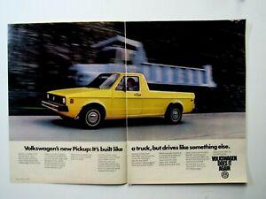 "1980 Volkswagen Pickup Original Print Ad 8.5 x 11"" 2 Page"