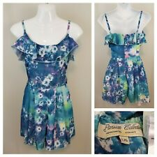 Parisian Collection L Blue Floral Ruffled Pleated Shorts Romper Adjustable Strap