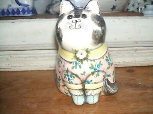 """ONE JOAN DE BETHEL RYE CAT 658 1988 HAND PAINTED 5"""" TALL PINK FLORAL DRESS"""
