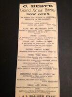 H8-1 Ephemera 1896 Advert Falmouth C Best Grand Xmas Bazaar