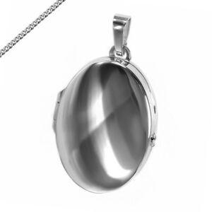 MEDAILLON Oval Spiegelglanz Poliert Amulett für 2 Bilder auch mit Kette Gravur