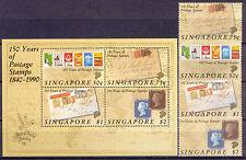 150 Jahre Briefmarken - Singapur - 594-597, Bl.24 ** MNH 1990