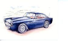 Blue Aston Martin DB5 Red leather no bumpers racing trim Blank Greeting Card