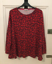 Gorgeous BODEN Soft Red Mix Floral Stretch Long Sleeve Top Size 18