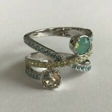 Lia Sophia Light Green Clear and Blue CZ Silver Tone Ring Size 8