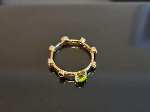 "ITALIAN DAMIANI 18K Yellow Gold ""Moon Drops"" Spinel Green Ring w Black Diamonds"