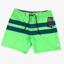 "NWT Hurley Mens Sz 36 Phantom Medium Stretch 18"" Board Shorts Green Blue Stripes"