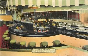 Linen Postcard Iceland Scandinavian Restaurant Broadway NYC NY View of Bar