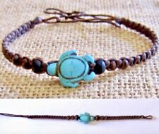TURTLE BRACELET TURQUOISE STONE BLACK WAXED CORD ADJUST ANKLET womens girl beach