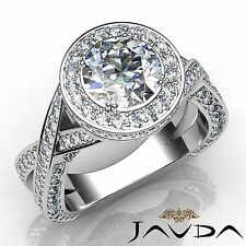 2.5ct Criss Cross Shank Round Diamond Engagement Ring GIA F VVS2 14k White Gold